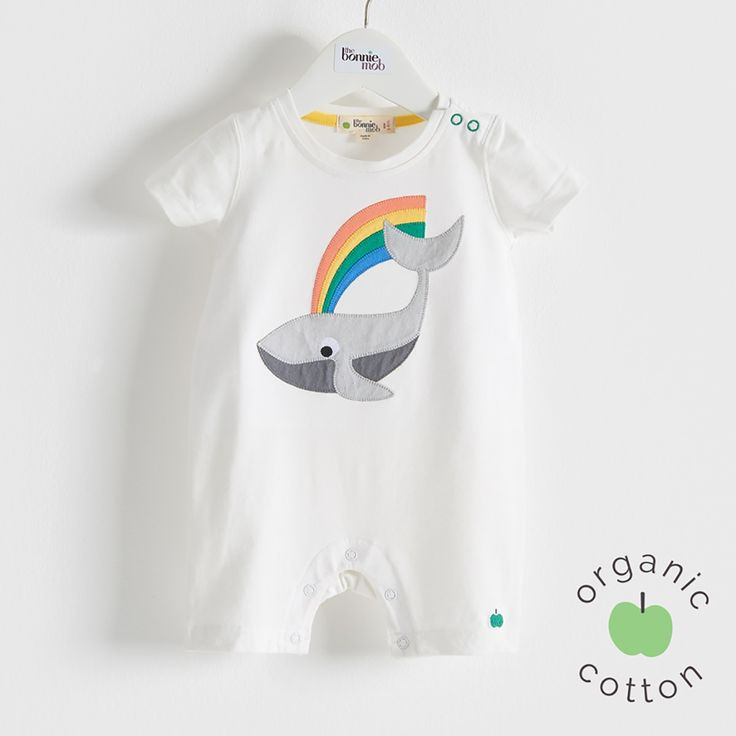 The Bonnie mob SS16 - The Life Aquatic. MOBY Organic Cotton Rainbow Whale Unisex Baby and Toddler Playsuit/Romper. Our happy little whale applique embroidery sprays rainbow rays wherever he goes.