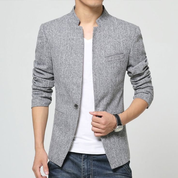 Find More Blazers Information about High Quality Blazer Men Fashion 2016 Spring New Stand Collar Casual Mens Blazer Korean One Button Slim Fit Men's Blazers 3XL M,High Quality blazer,China blazer womens Suppliers, Cheap blazer men slim fit from Eric's on Aliexpress.com