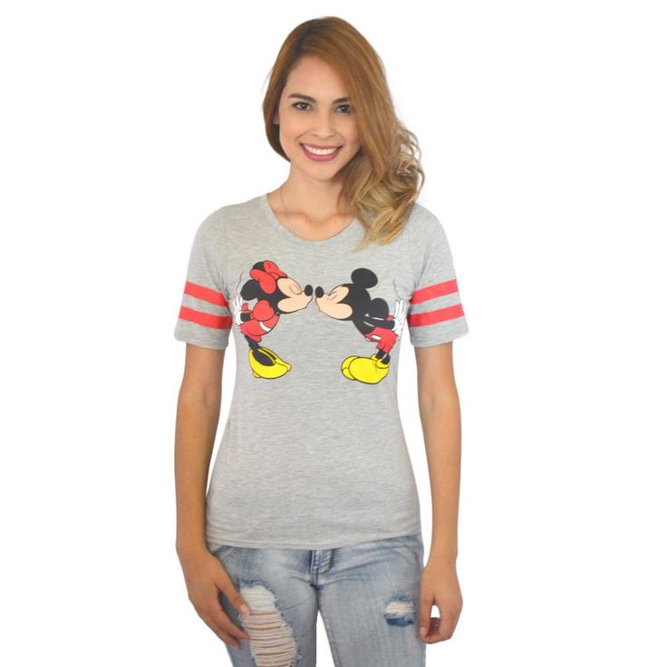 Disney Mickey Mouse and Minnie Mouse Kissing Women's Grey T-shirt