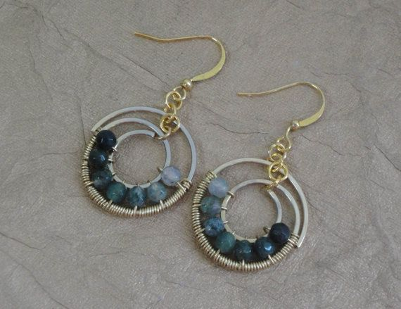 Wire Wrapped Gemstone Earrings Green Agate and Gold by ForestBeads, $34.99