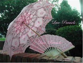 Battenburg lace parasol and fan