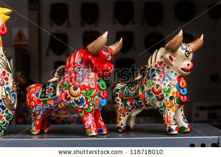 Peruvian traditional handcraft: Torito de Pucara,  colorfull ceramic bulls