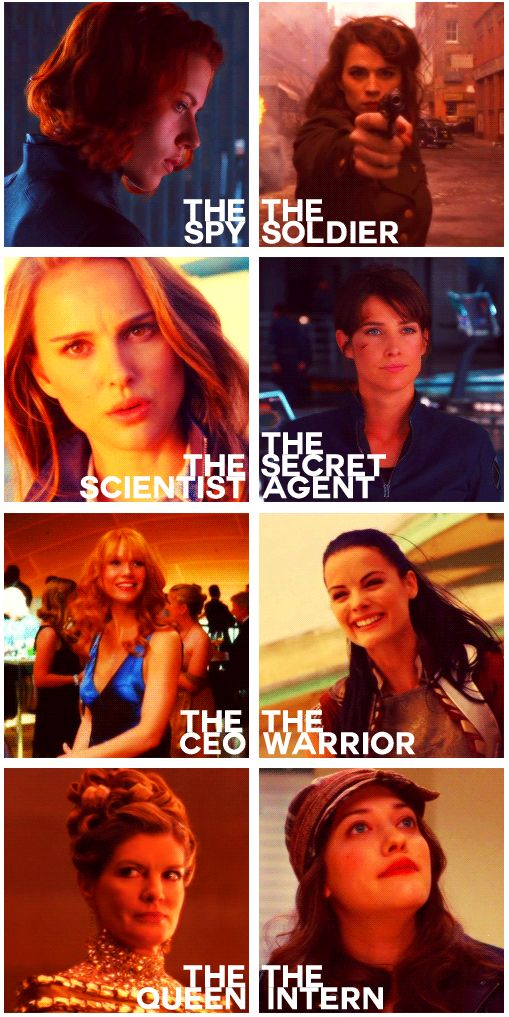 The Women of the Marvel Cinematic Universe: Natasha Romanoff (Black Widow), Peggy Carter, Jane Foster, Maria Hill, Pepper Potts, Sif, Frigga & Darcy Lewis. Levels of Awesome: Ever Increasing.