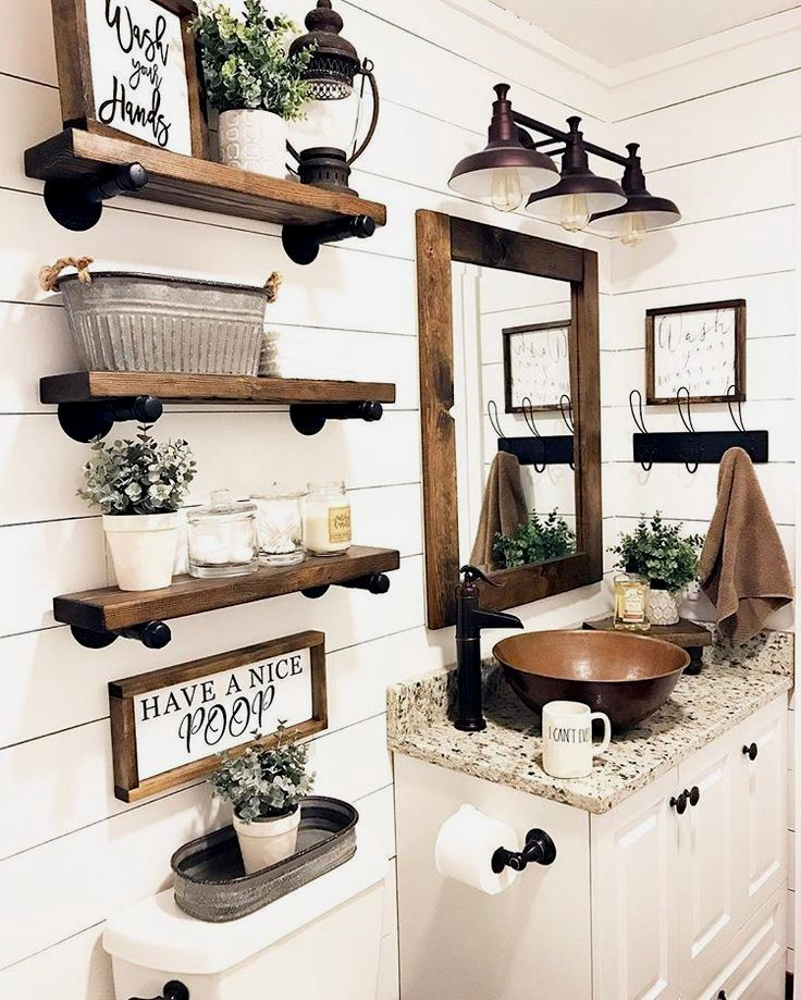 Small Bathroom Design Ideas Smallbathroom With Images Farmhouse Bathroom Decor Rustic Bathroom Designs Bathroom Farmhouse Style