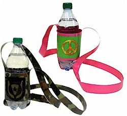 Duct Tape Water Bottle Holder--great for Boy or Girl Scouts, or any youth group!  Easy to make using all types of fun duct tape patterns.  Directions and optional supplies at makingfriends.com.
