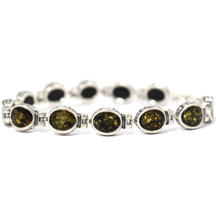 AMBER Contemporary Celtic Design Green Polished Oval Stone Sterling Silver Bracelet