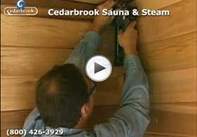 DIY sauna: Cedar tongue and groove paneling to ceiling and walls