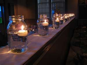cute and quick idea for outside party lighting. Would be pretty along the deck for summer party.