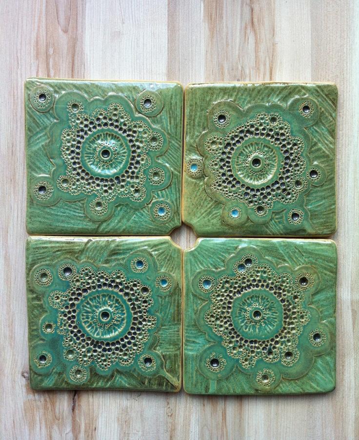 Green ceramic tiles by nomen omen studio