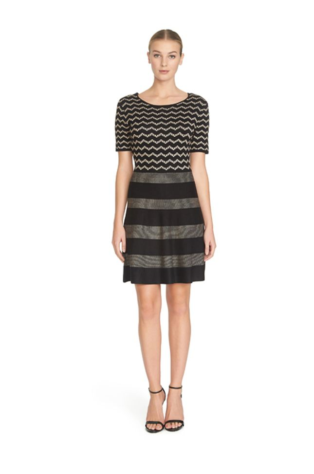 Michi's Boutique - $128 - CeCe for Cynthia Steffe How fun is this Black short sleeved striped and chevron knit dress?! Warm for the winter and so comfortable, it would pair perfectly with our Melissa shoes! (1S, (1)M, (1)L