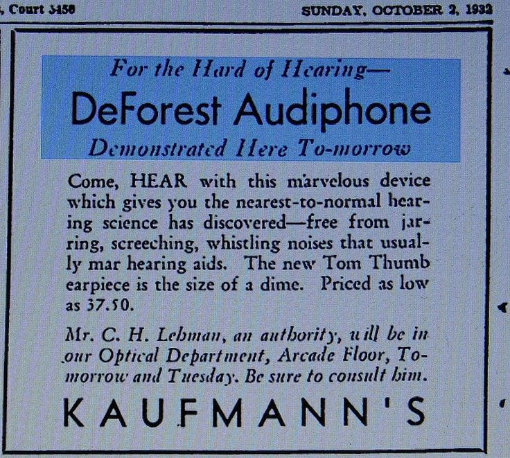 Vintage DeForest Audiphone Carbon Hearing Aid Ad From The Detroit Press, October 2, 1932.