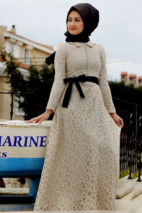 An elegant Turkish white dress by Minel Aşk |Hijab| |lady Muslimah|
