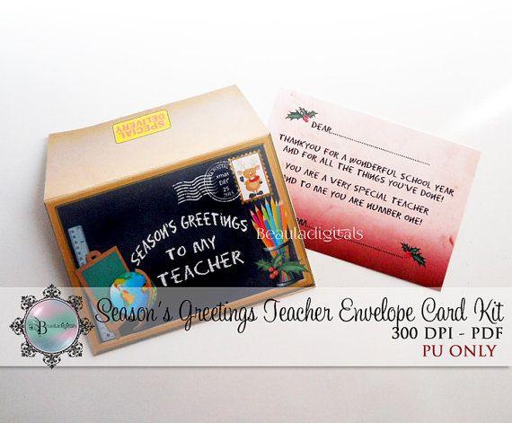 Season's Greetings for Teacher Envelope & Card by Beauladigitals