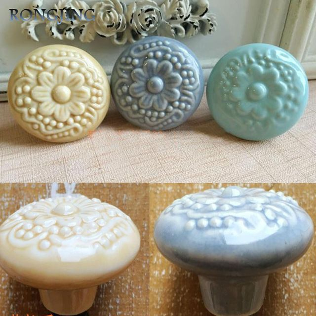 Mediterranean Ceramic Cabinet Drawer Knobs Porcelain Kids Wardrobe Handles Furniture Dresser Closet Cupboard Rural Vintage Pulls