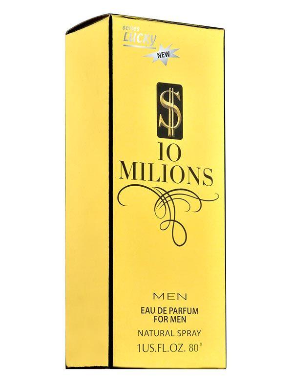 Parfum original pentru bărbați Lucky 10 Milions $ EDP 30ml    cod 1109  lemnos  Pentru bărbatul ambițios și de succes, care știe exact ceea ce își dorește.  - note de vârf: grapefruit, mentă, mandarină roșie  - note de inimă: trandafir, scorțișoară, condimente  - note de bază: note de piele, lemn alb, ambră, patchouli indonezia  Apă de parfum cu esențe din Franța  Concentrație de parfum 12%  Testerul pentru acest parfum are codul 624.