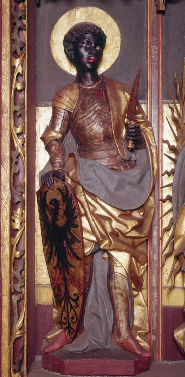 medievalpoc:  Anonymous German Artist Altarpiece with Saint Maurice Germany (1499) Attached Ronde-Bosse, Gilded Wood, 132 cm. Bitterfeld, Stadtkirche St. Antonius. The Image of the Black in Western Art Research Project and Photo Archive, W.E.B. Du Bois Institute for African and African American Research, Harvard University