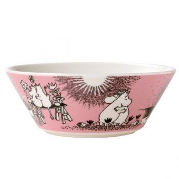 Moomin bowl Love, pink. Har koppen, hadde vært fint å ha fatet som hører til! Gjerne 2. sortering.