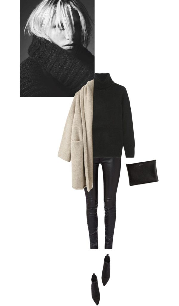 J Crew black sweater, Lauren Manoogian brown coat / Rag & bone black jeans, Acne Studios suede boots / Carven wash bag