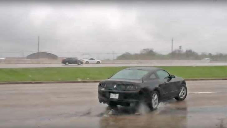 Watch a Ford Mustang Crash Into a Lamborghini Dealership
