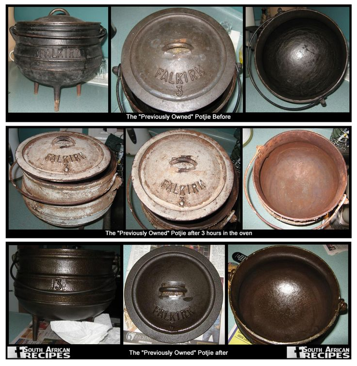 South African Recipes POTJIE CARE: The main care for your potjie is discussed on the following pages: * Seasoning - baking on a layer of oil to protect the metal and improve meal taste * Cleaning - removing food bits, but leaving the seasoning layer * Storing - protecting your potjie when it won't be used for a few months Read the instructions: https://www.facebook.com/notes/south-african-recipes/potjie-care/636579729692904
