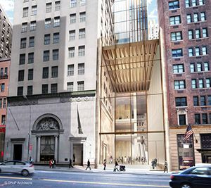 Rendering of the entrance of 111 West 57th Street (Photo Credit: SHoP Architects)
