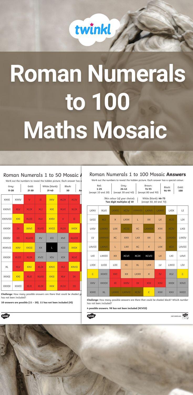 Roman Numerals to 100 Mosaic Activity   Roman numerals [ 1500 x 735 Pixel ]