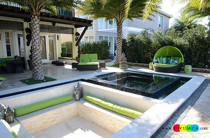 Outdoor / Gardening:Create Outdoor Lounge With Sunken Seating Area Ideas Build Conversation Pits Sunken Sitting Areas In Pool Garden Outside Decor Design Cool Sunken Lounge In The Patio With An Exotic Topical Theme Elevate The Style Quotient Of Your Outdoor Lounge With Sunken Seating Area