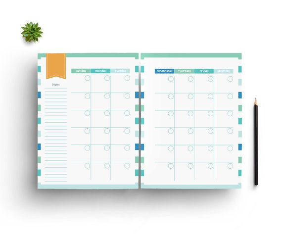 This instant downloadable, monthly planner includes two pages letting you space out your month. Perfect for printing out and putting on your desk or