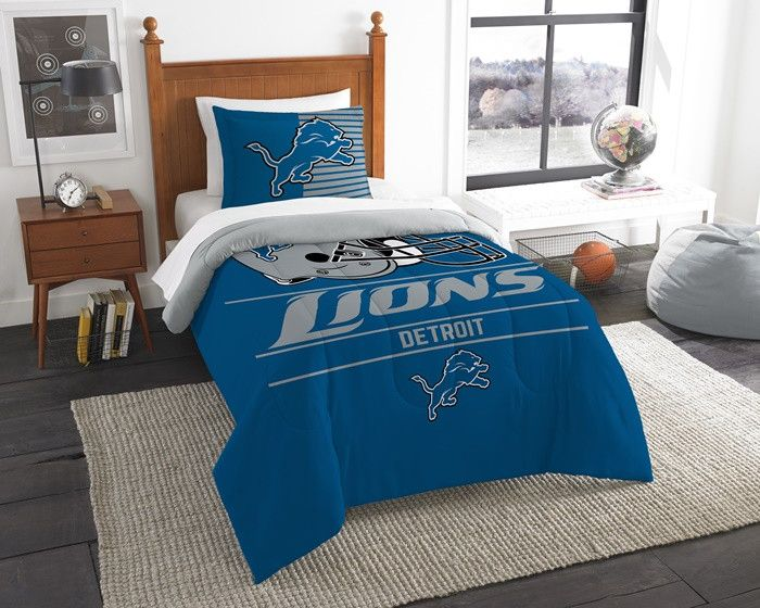 Detroit Lions NFL Draft Twin Comforter Set. Includes comforter and 1 sham.  Visit SportsFansPlus.com for Details.