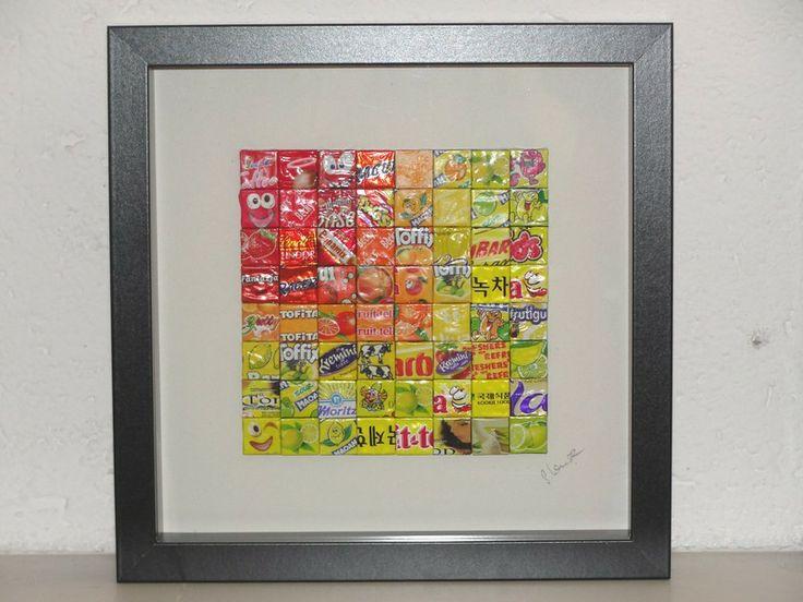 AprilSchrill : Buntes Bild aus Bonbonpapierchen von Recycling-Art auf DaWanda.com