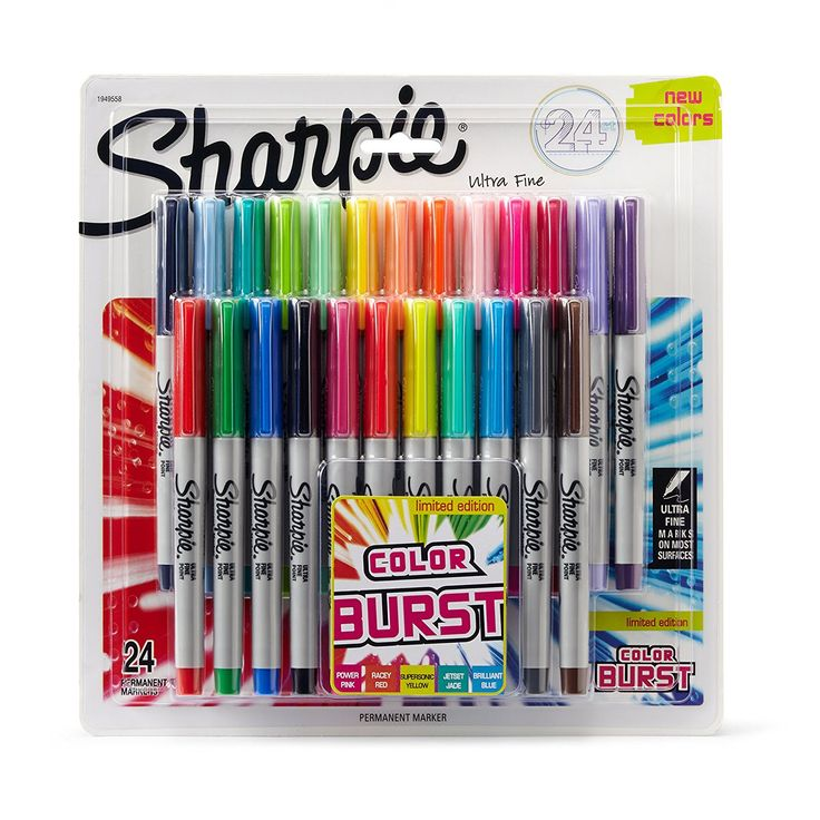 Sharpie Color Burst Permanent Markers Ultra Fine Point Assorted Colors 24 Count