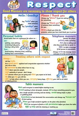 Featuring good manners, table manners and how to treat others respectfully. This poster will ensure that children of all ages enjoy the benefits that come from being polite and respectful to others.