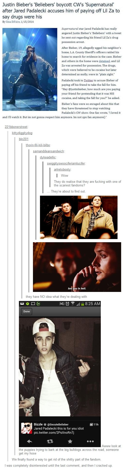 Beliebers vs. Jared Padalecki - It keeps getting funnier!   I hate that little whiny bastard. I hope his 10 years is up soon and the hell hounds come for him... <<< Repinning for the comment. I hope so too. And I hope it was Crowley that made the deal and I hope he took pictures for proof...