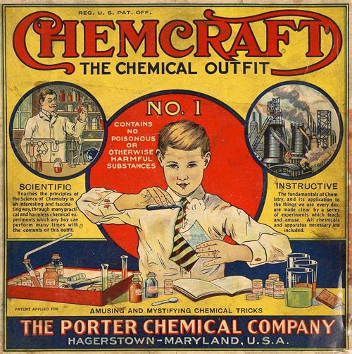 """Chemcraft Chemical Outfit #1. """"Remember the good old science kits of yesteryear that contained things like cyanide, uranium, and ammonium nitrate, as well as Bunsen burners and glass vials that are now considered too dangerous for children? Why, you can't even blow up the kitchen anymore!"""" Caption at link"""