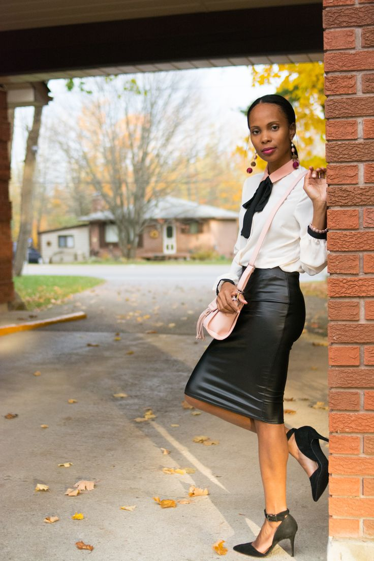work outfit/ leather skirt/ business casual outfit/ tie neck blouse