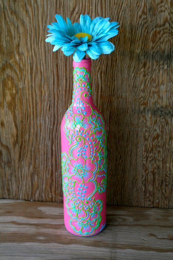 Painted Wine bottle Vase, Bright Pink bottle with green and blue accents, Vibrant Henna style design