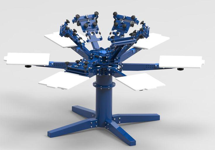 6 Colour Rotary Screen Printing Press - STL - 3D CAD model - GrabCAD