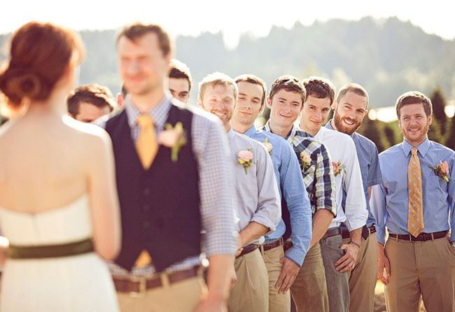 So many awesome things about this wedding.  I love the groomsmen and the bridesmaids!