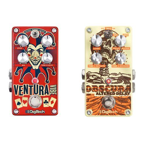 [Test] Digitech Obscura et Ventura - Guitariste.com - Digitech nous propose deux pédales bien pensées et très complètes : l'Obscura, un delay à tendance sale et la Ventura, une pédale de modulation 3-en-1 regroupant vibe, vibrato et rotary speaker. Pas mal du tout !