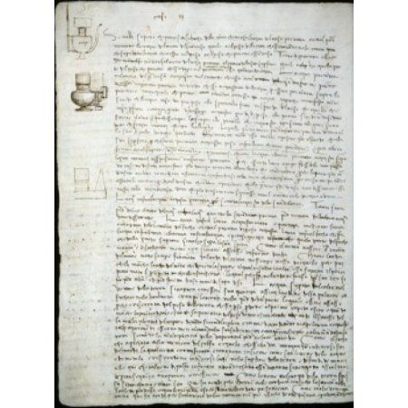 Codex Leicester Water Pressure Theories Leonardo da Vinci (1452-1519Italian) Drawing Armand Hammer Foundation Los Angeles Canvas Art - Leonardo da Vinci (24 x 36)