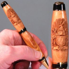 Coat Of Arms Engraved Wooden Pen by Michael Doyle