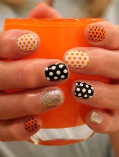 Halloween Polka Dots and Glitter gel Mani! ManiMondays
