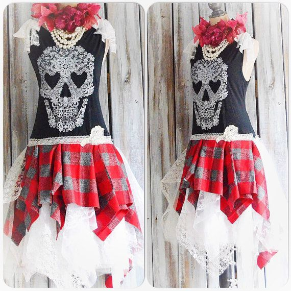 Grunge black Skull dress Punk princess tartan by TrueRebelClothing