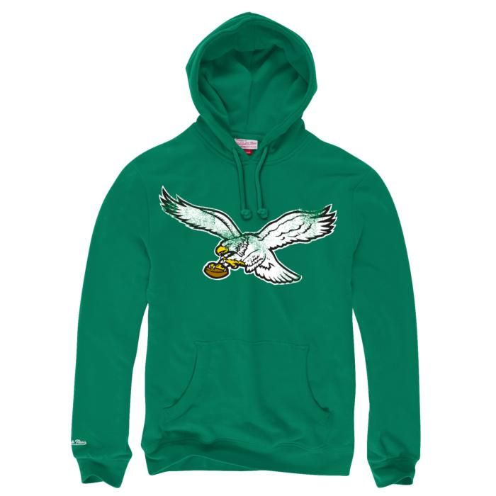 Philadelphia Eagles Kelly Green Vintage Bird Mitchell and Ness Pullover Hoodie