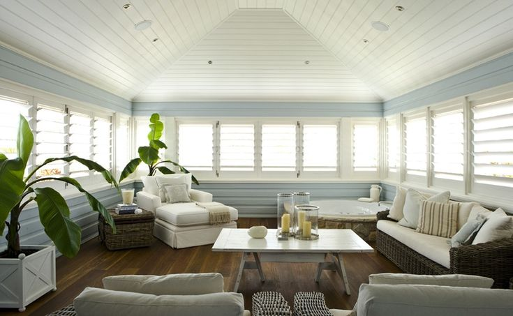 what a fantastic enclosed verandah space! so coastal, so relaxed