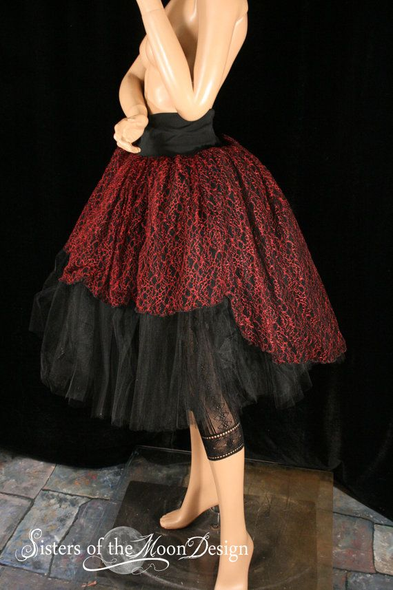 Gothic Red Lace Adult Tutu Skirt Extra Puffy Long Formal Bridal Prom Dance Costume Black Victorian