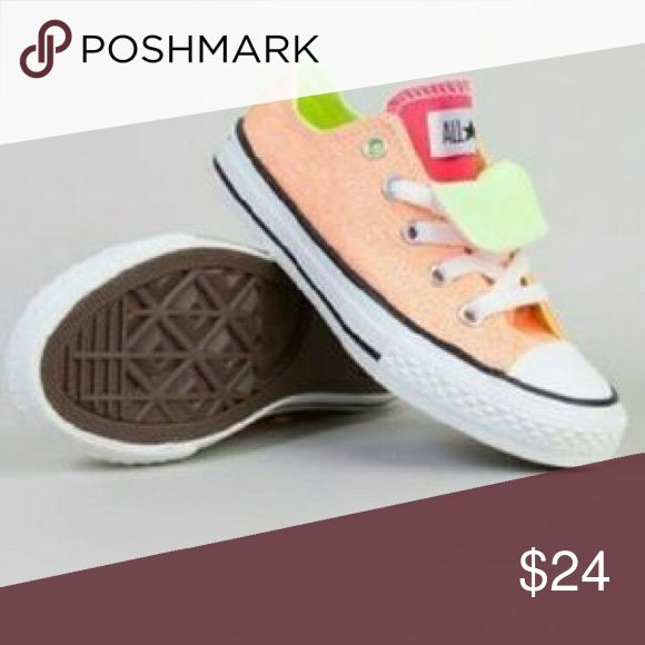Light orange converse double tongue (pink/green) Slightly worn but in great condition! Green stripe on back Converse Shoes Sneakers