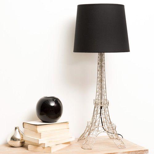 Lampada nera in metallo e abat-jour in cotone H 73 cm MONUMENT TOUR EIFFEL