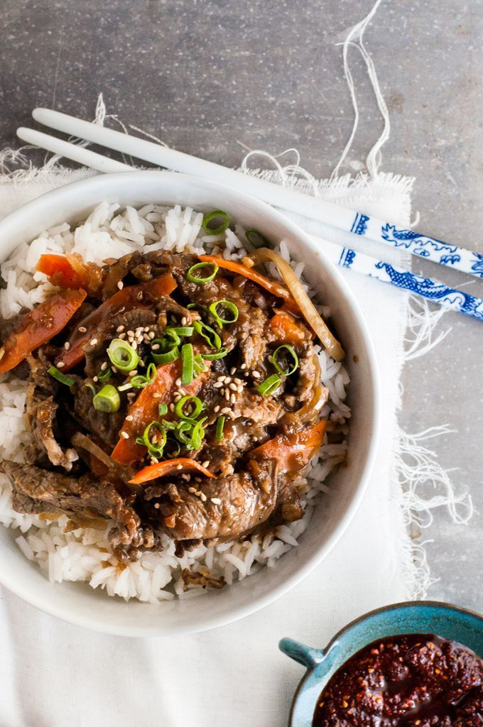 Korean Beef Bowl (Bulgogi - Korean BBQ Beef) - easy to make with ingredients from the supermarket.  Great marinade!