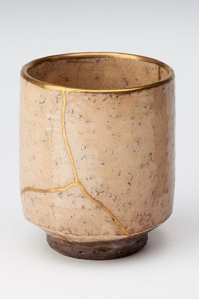 Kintsukuroi or kintsugi is the art of healing broken pottery with lacquer and silver or gold. The philosophy behind this reparation is that something should not be discarded just because it is broken. It is in fact more beautiful for having been broken.
